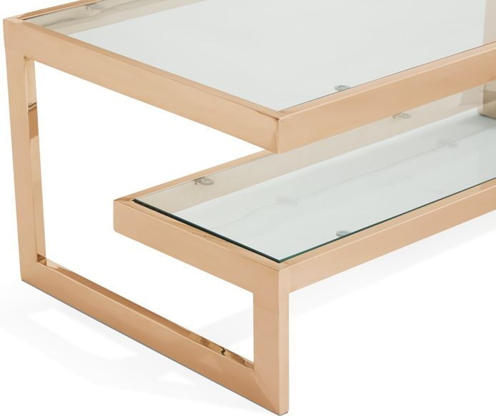 Serene Mera Rose Gold and Glass Coffee Table