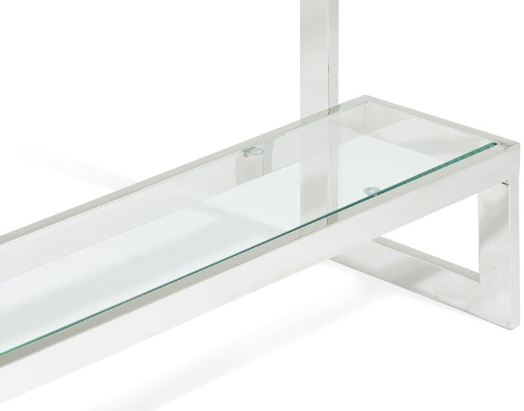 Serene Mera Stainless Steel and Glass Console Table