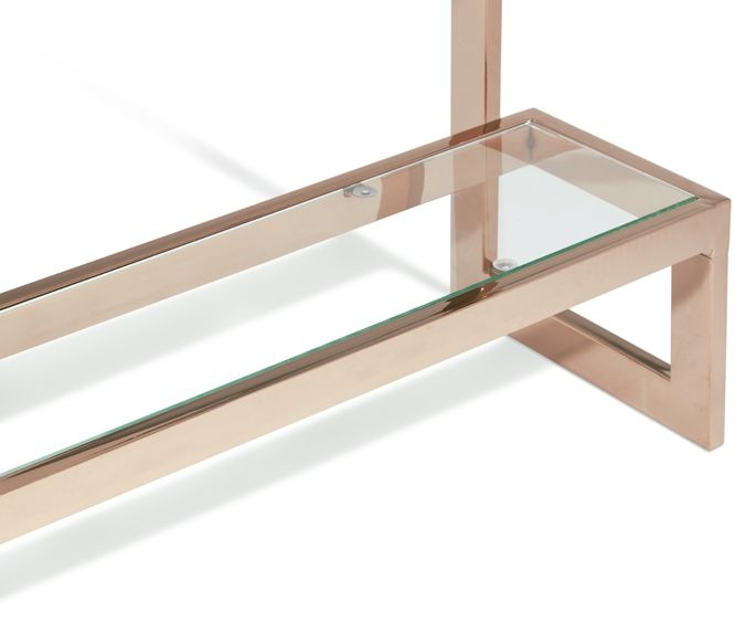 Serene Mera Console Table - Glass and Rose Gold