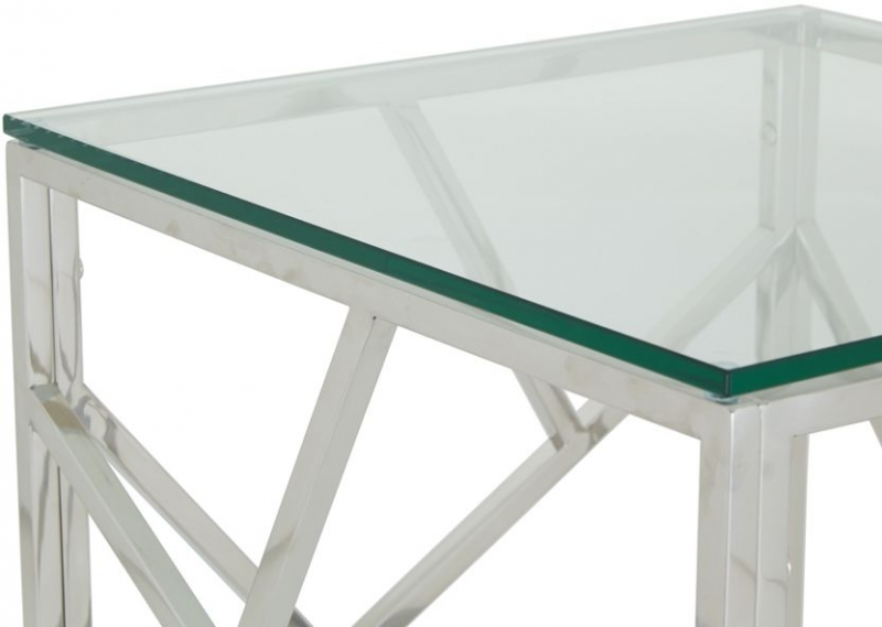 Serene Phoenix Stainless Steel and Glass Lamp Table