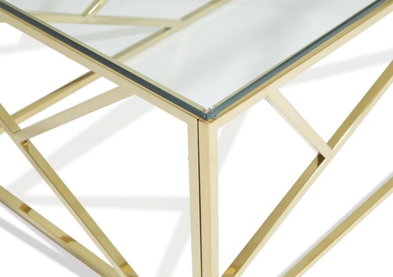 Serene Phoenix Coffee Table - Glass and Gold