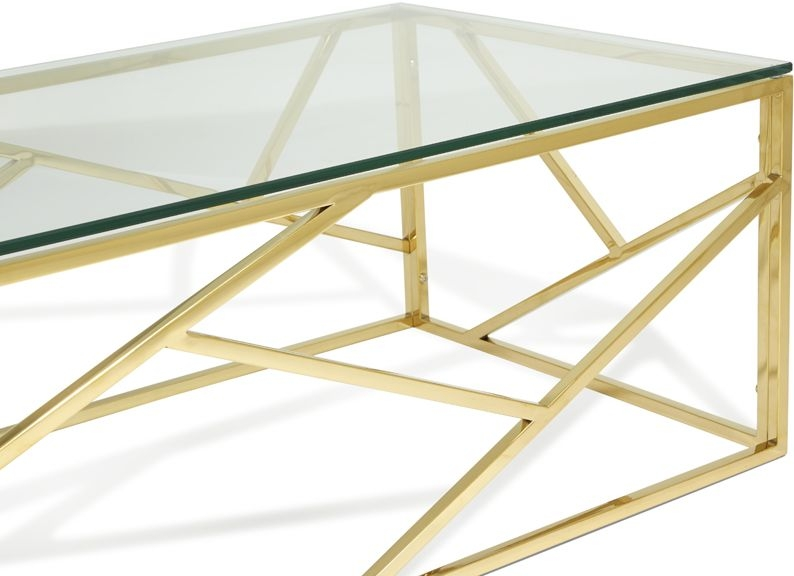 Serene Phoenix Gold and Glass Coffee Table