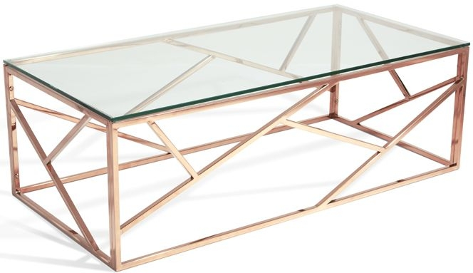 Serene Phoenix Rose Gold and Glass Coffee Table
