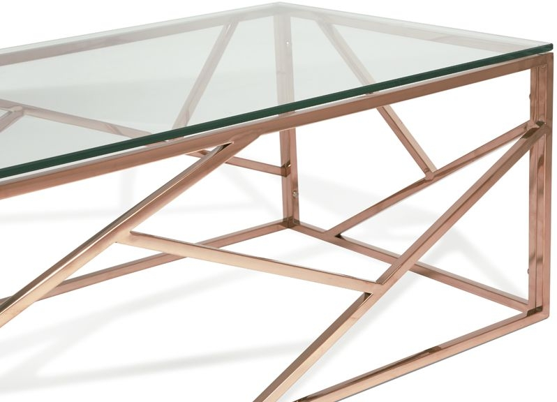 Serene Phoenix Coffee Table - Glass and Rose Gold