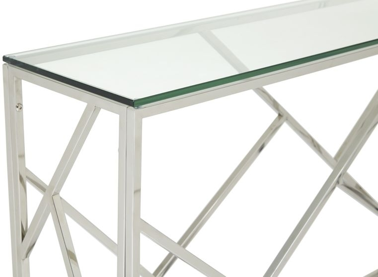 Serene Phoenix Stainless Steel and Glass Console Table