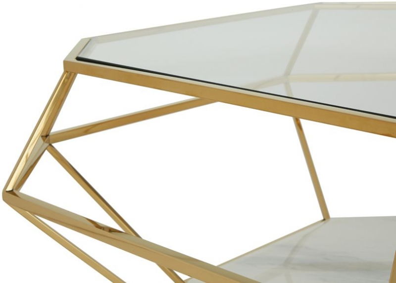 Serene Iris Gold and Glass Coffee Table