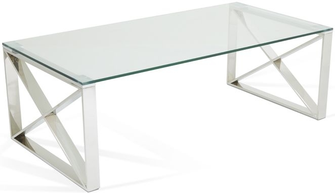 Serene Astra Stainless Steel and Glass Coffee Table