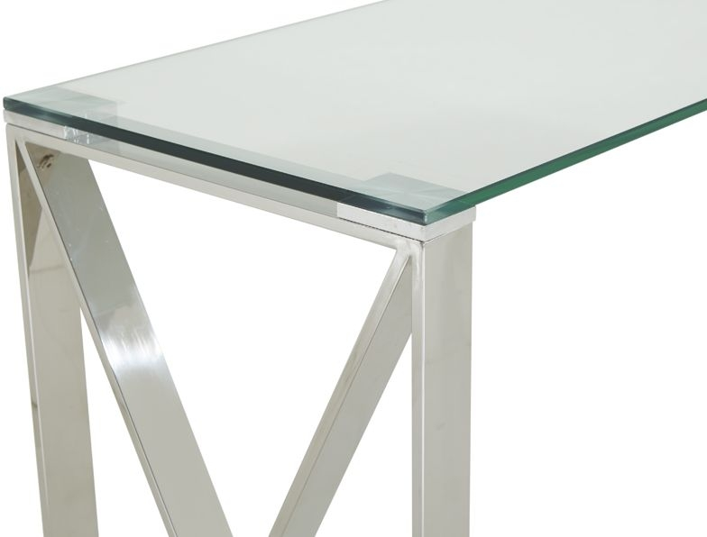 Serene Astra Stainless Steel and Glass Console Table