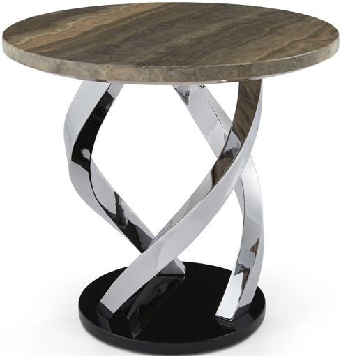 Serene Pandora Lamp Table - Marble and Chrome