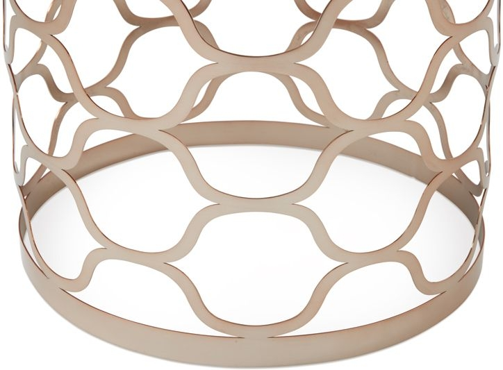 Serene Ophelia Rose Gold and Marble Lamp Table
