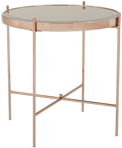 Serene Taurus Rose Gold and Glass Lamp Table