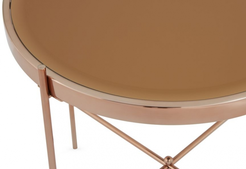Serene Taurus Lamp Table - Glass and Rose Gold
