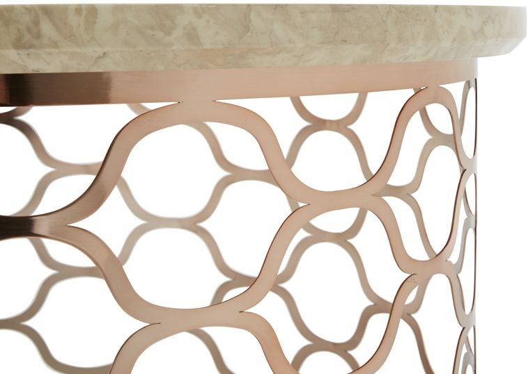 Serene Ophelia Rose Gold and Marble Coffee Table