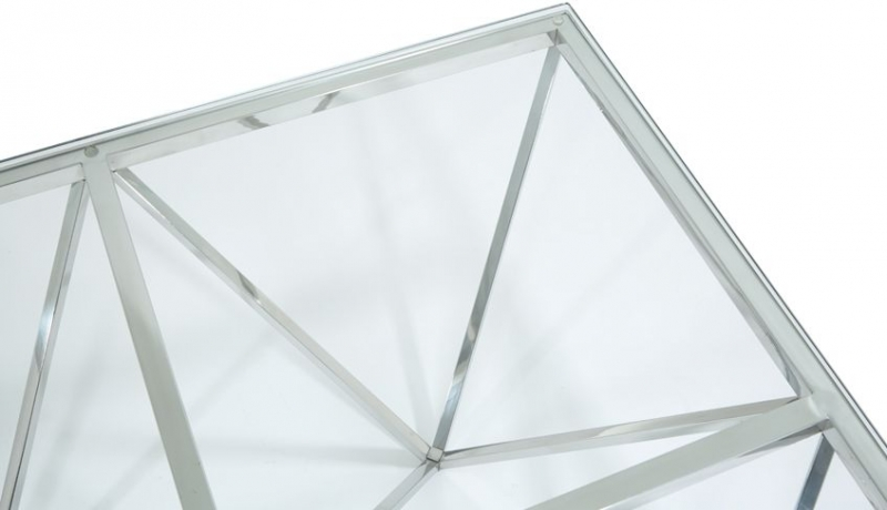 Serene Star Square Coffee Table - Glass and Chrome