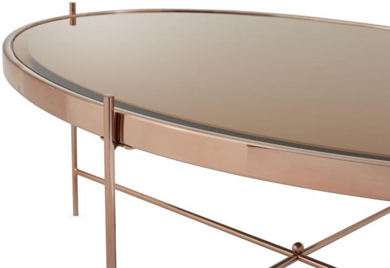 Serene Taurus Coffee Table - Glass and Rose Gold