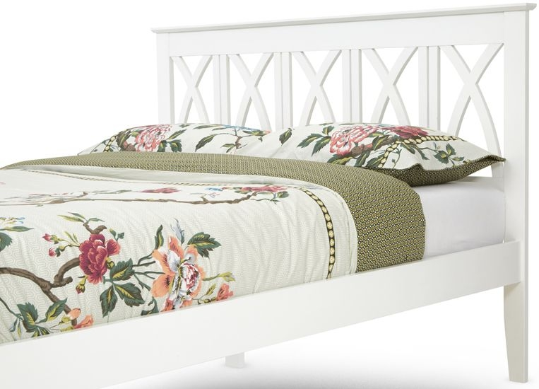 Serene Autumn Hevea Wood Bed - Opal White
