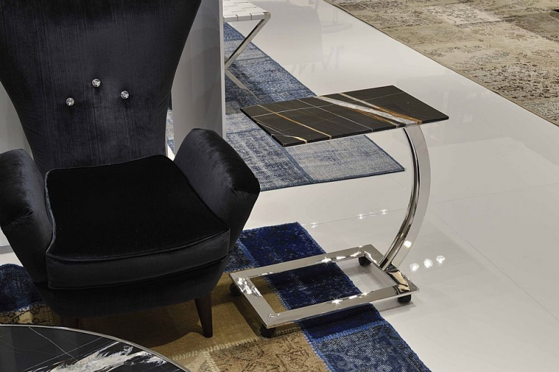 Stone International Swan Marble Rectangular Accent Table with Polished Steel Base with Casters