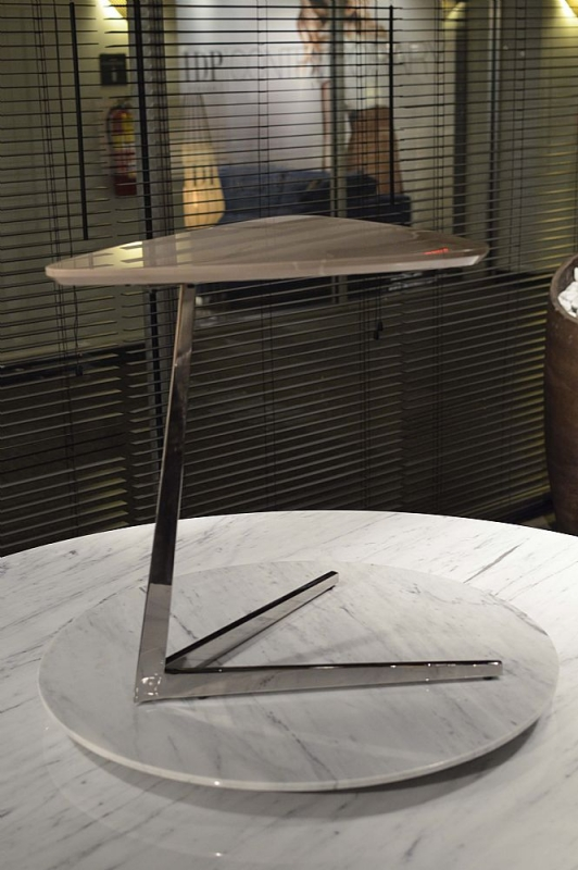 Stone International Plectrum Marble Triangle Accent Table with Polished Steel Base