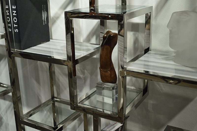 Stone International Kubo Etagere Marble and Glass Shelving Unit with Polished Stainless Steel