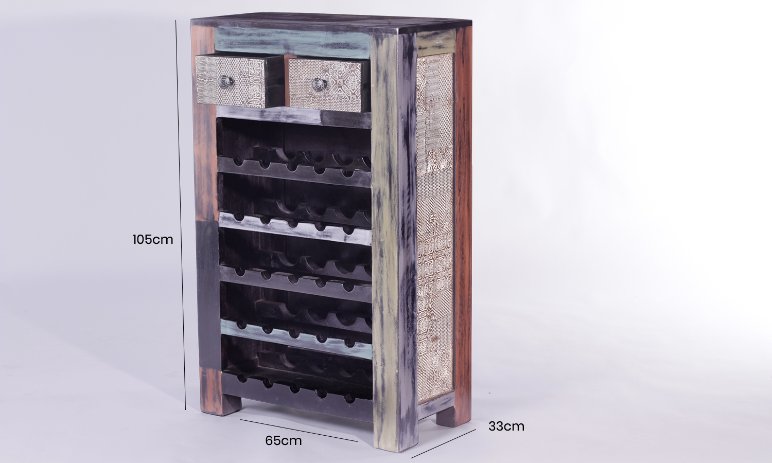 URBAN Vintage Shabby Chic 2 Drawer Wine Rack