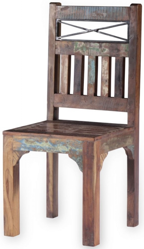 UNIQUE Reclaimed Recycled Shabby Chic Wooden Dining Chair (Pair)