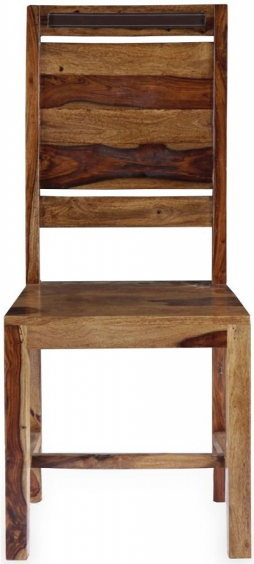 GRANDE Sheesham and Leather Trim Dining Chair with Rungs Across (Pair)