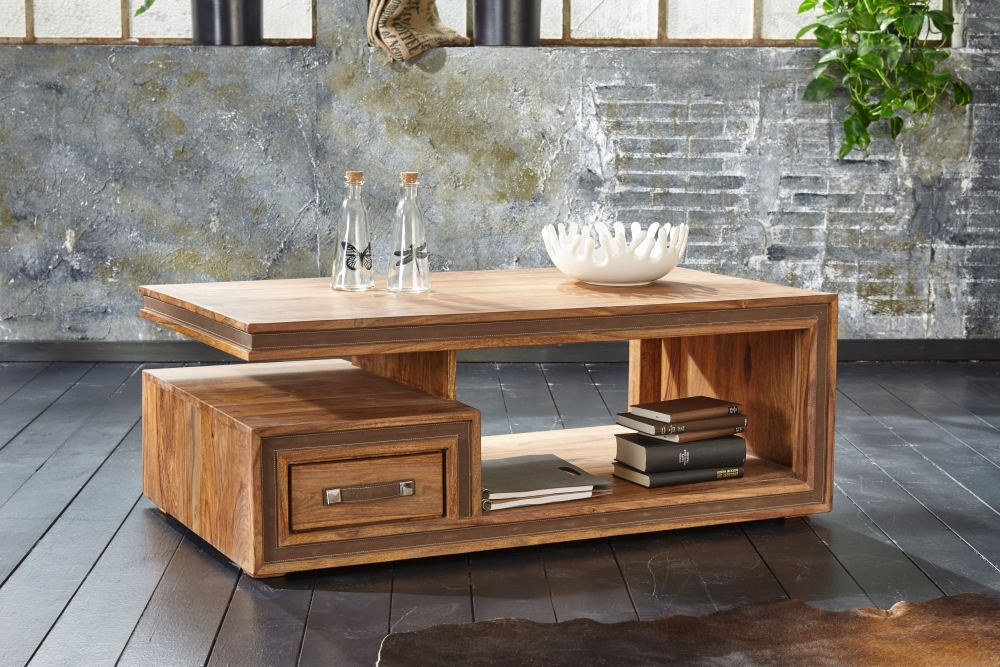 GRANDE Sheesham and Leather Trim 1 Drawer Storage Coffee Table
