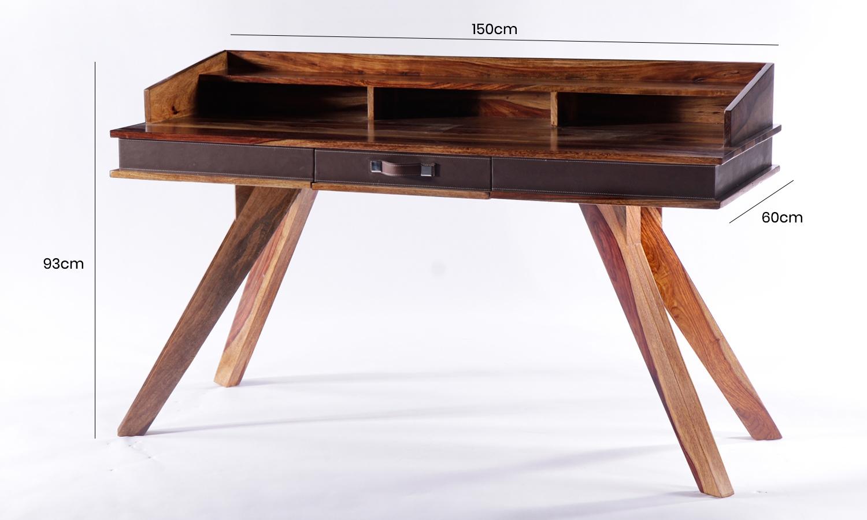 GRANDE Sheesham and Leather Trim 1 Drawer Writing Desk