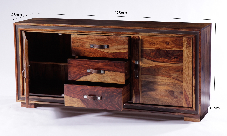 GRANDE Sheesham and Leather Trim 2 Door 3 Drawer Wide Sideboard