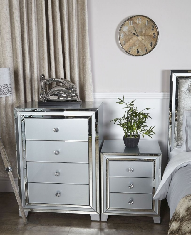 Montague Grey Mirrored 3 Drawer Bedside Cabinet