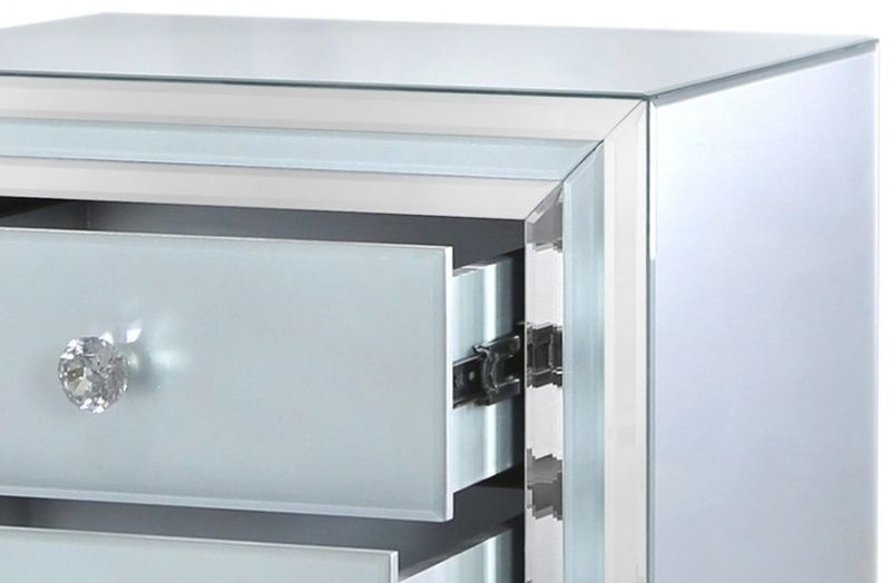 Montague Grey Mirrored Bedside Cabinet