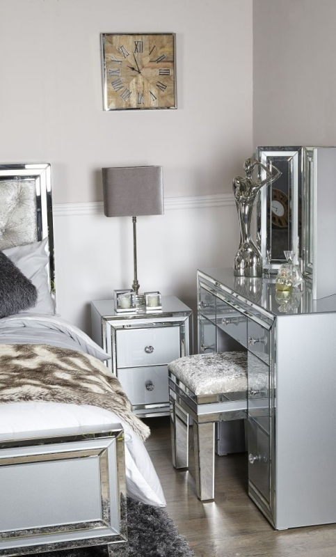 Montague Compact Bedside Cabinet - Grey Mirrored