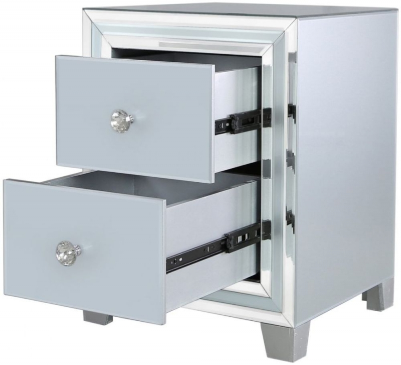 Montague Grey Mirrored Compact Bedside Cabinet