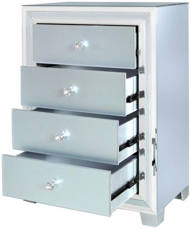 Montague Grey Mirrored Large Bedside Cabinet