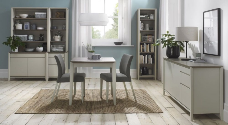 Bentley Designs Bergen Grey Washed Oak and Soft Grey 2-4 Seater Rectangular Butterfly Extending Dining Table - 80cm-150cm