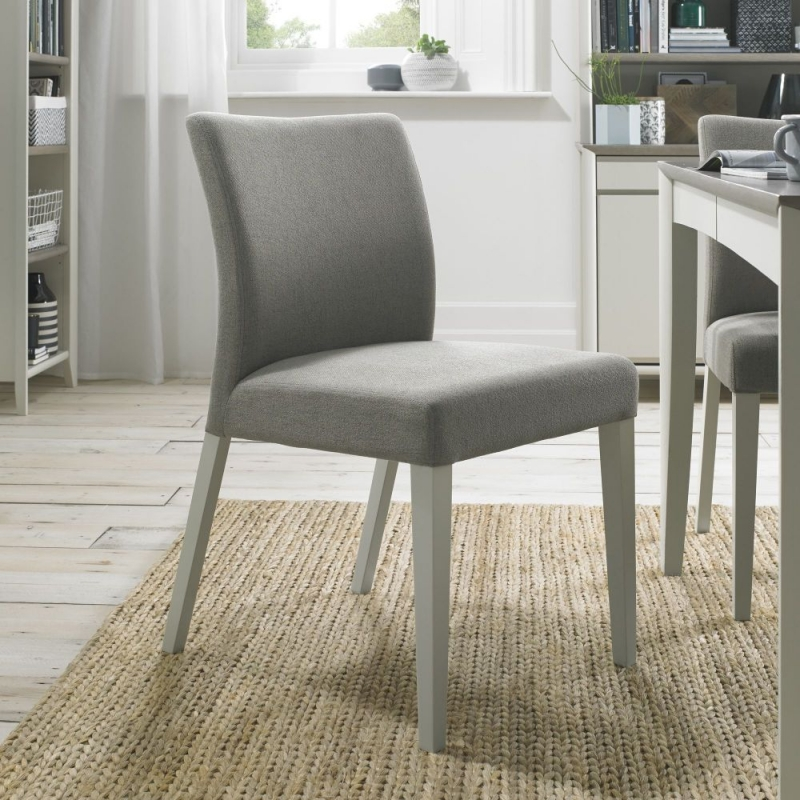 Bentley Designs Bergen Soft Grey and Titanium Fabric Dining Chair (pair)