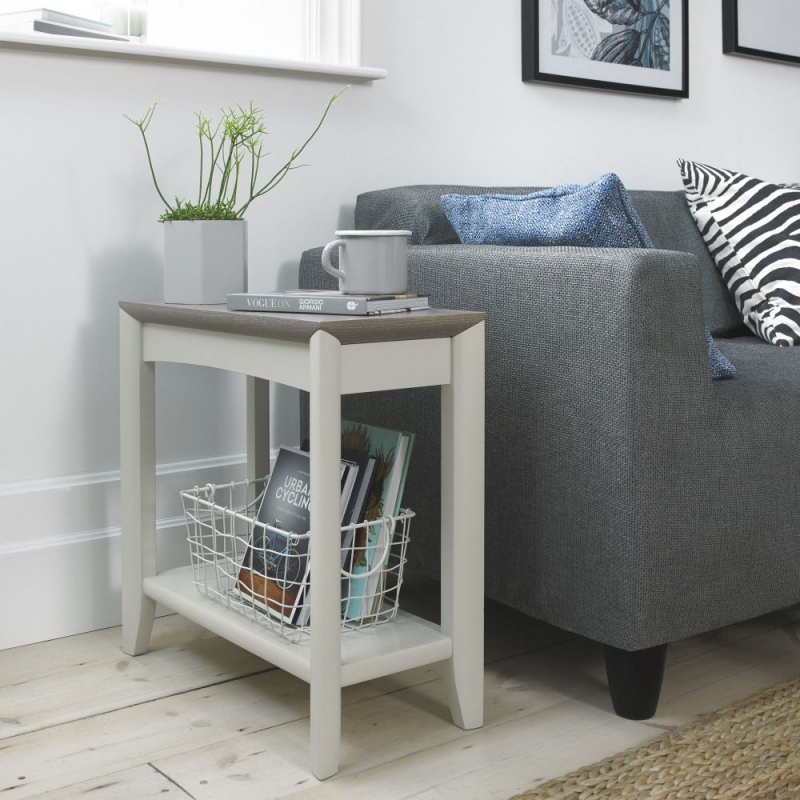 Bentley Designs Bergen Grey Washed Oak and Soft Grey Side Table