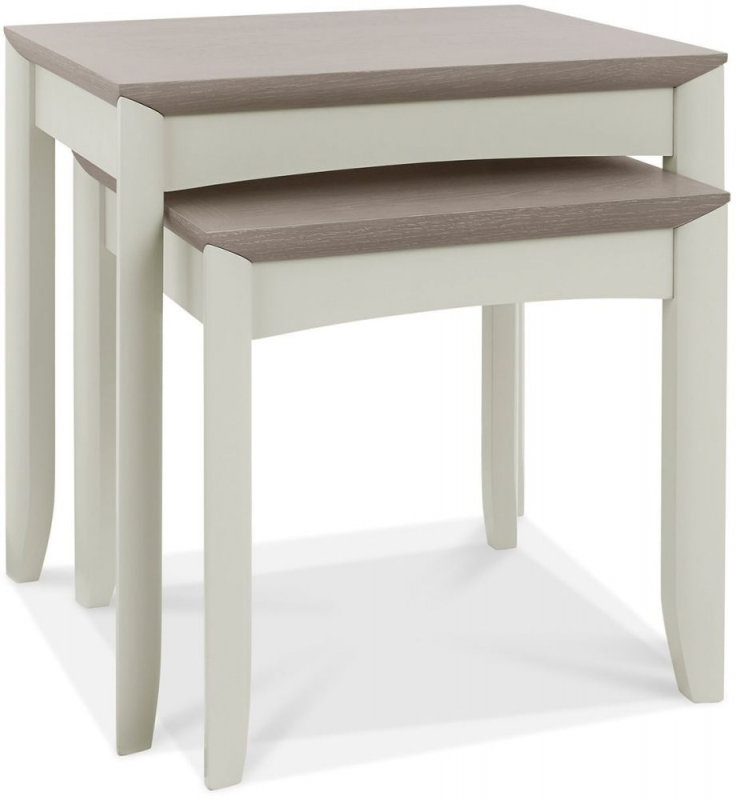 Bentley Designs Bergen Grey Washed Oak and Soft Grey Nest of 2 Tables