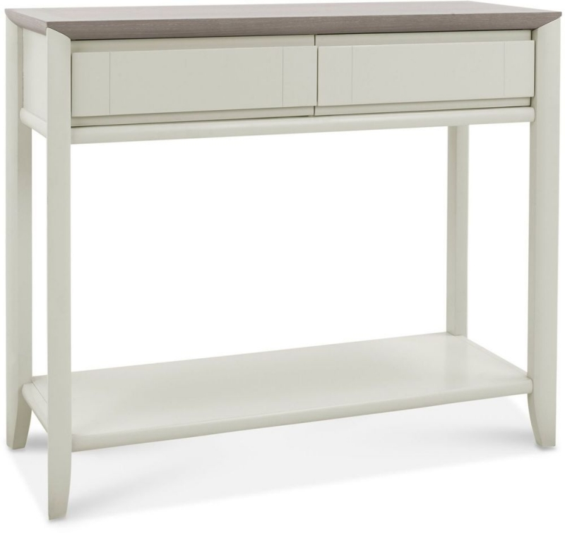 Bentley Designs Bergen Grey Washed Oak and Soft Grey 2 Drawer Console Table