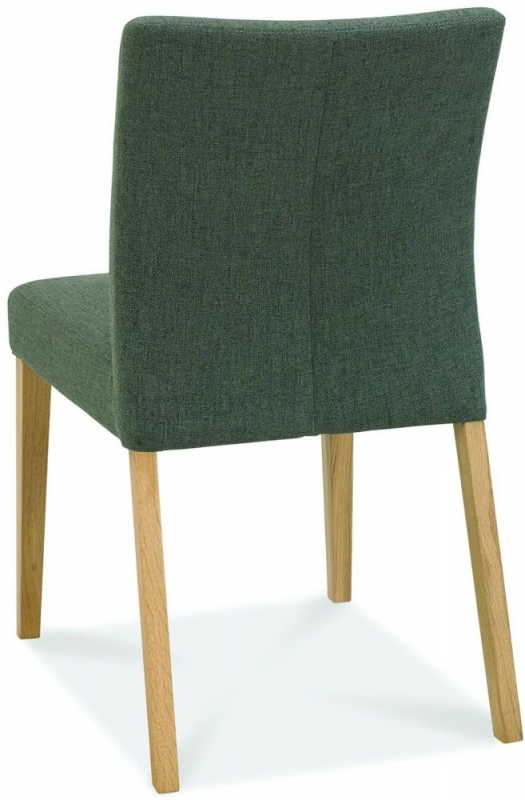 Bentley Designs Bergen Oak Cold Steel Fabric Dining Chair (Pair)