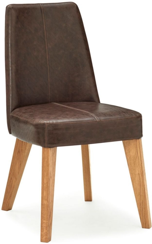 Bentley Designs Cadell Rustic Oak Espresso Faux Leather Upholstered Dining Chair (Pair)