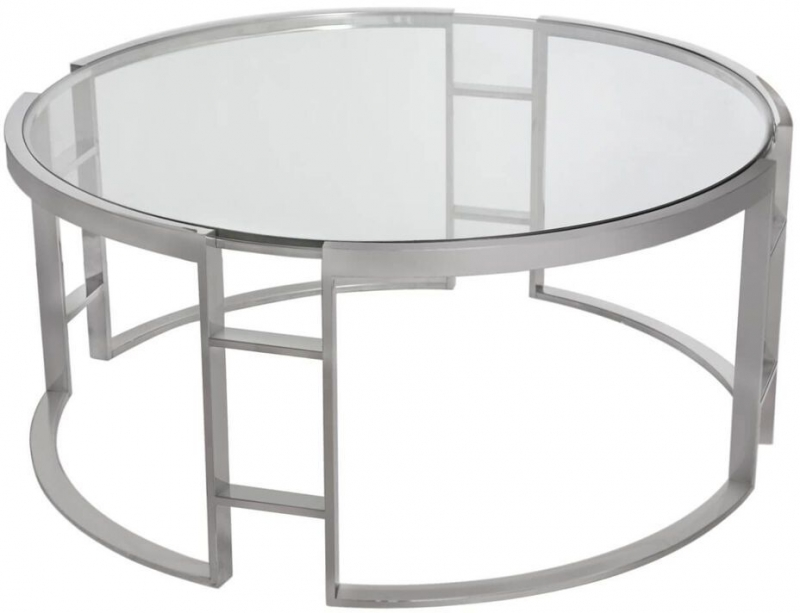 Wyane Chrome and Glass Coffee Table