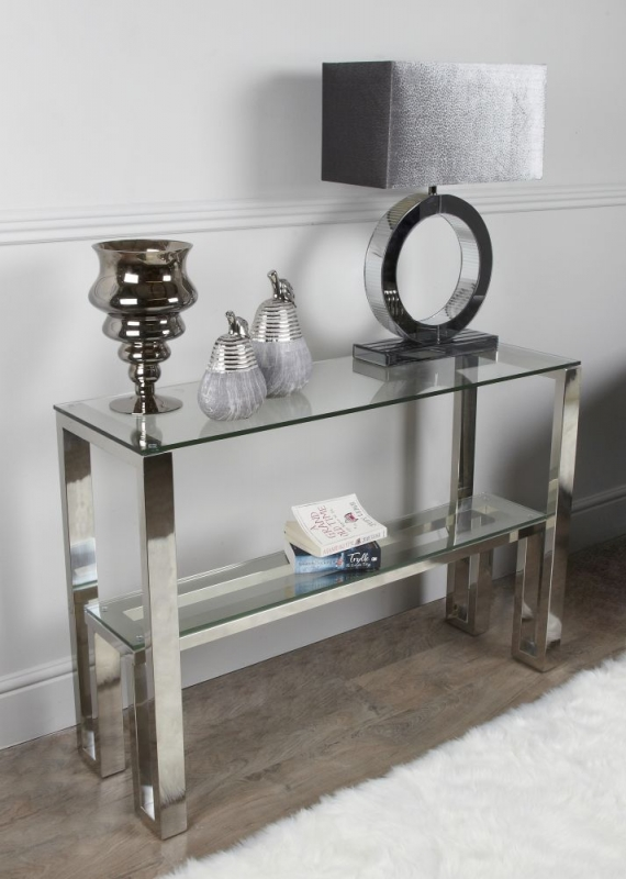 Berry Chrome and Glass Console Table