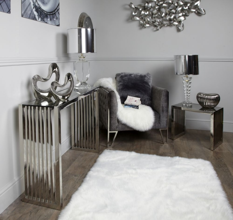 Enko Chrome and Glass Console Table