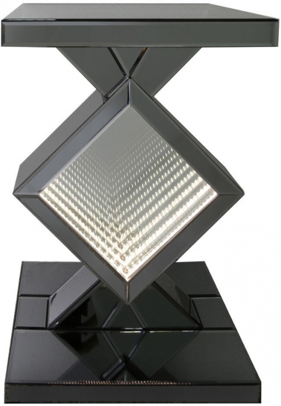 Orbit Smoked Mirrored LED Diamond End Table