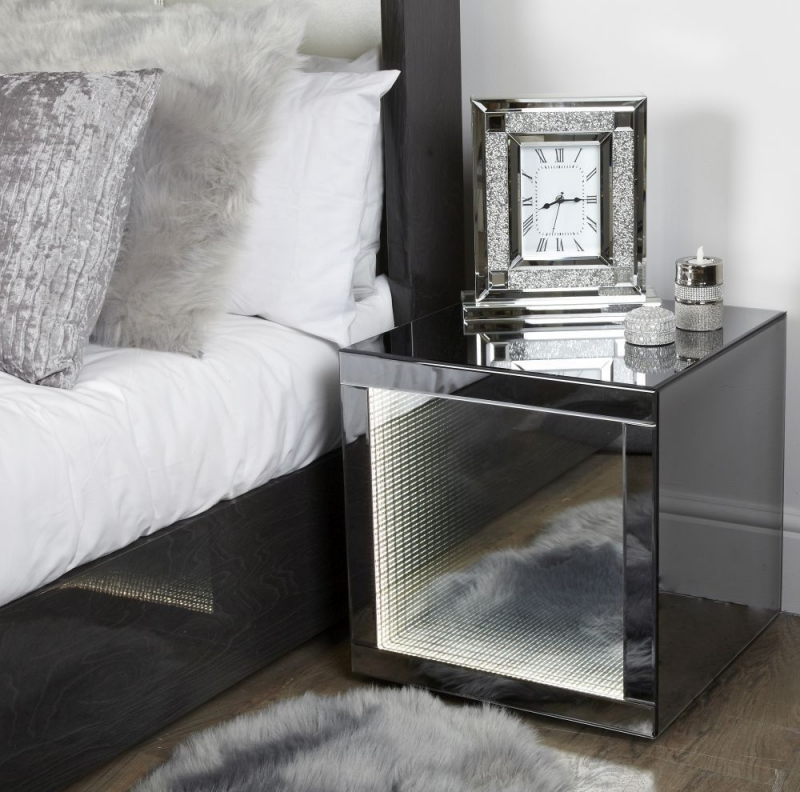 Orbit Smoked Mirrored End Table