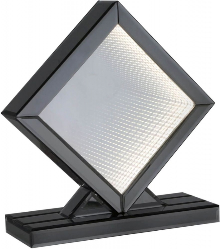 Orbit White LED Diamond Medium Table Lamp - Smoked Mirrored