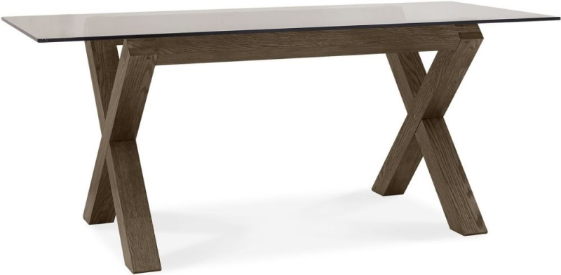 Bentley Designs Turin Dark Oak Rectangular Glass Dining Table - 180cm