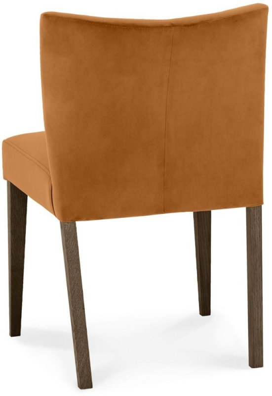 Bentley Designs Turin Dark Oak Harvet Pumpkin Velvet Fabric Low Back Dining Chair (Pair)