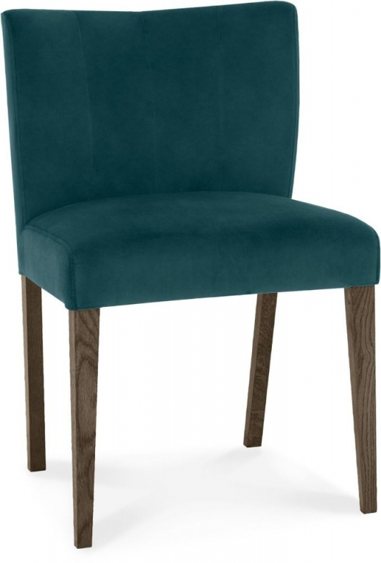 Bentley Designs Turin Dark Oak Sea Green Velvet Fabric Low Back Dining Chair (Pair)